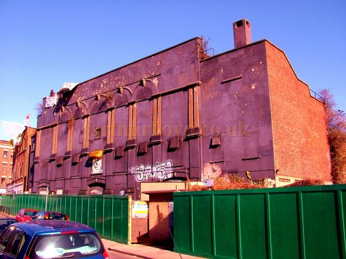 The side elevation of the former Dalston Theatre in September 2003 - Photograph courtesy Andrew Woodyatt