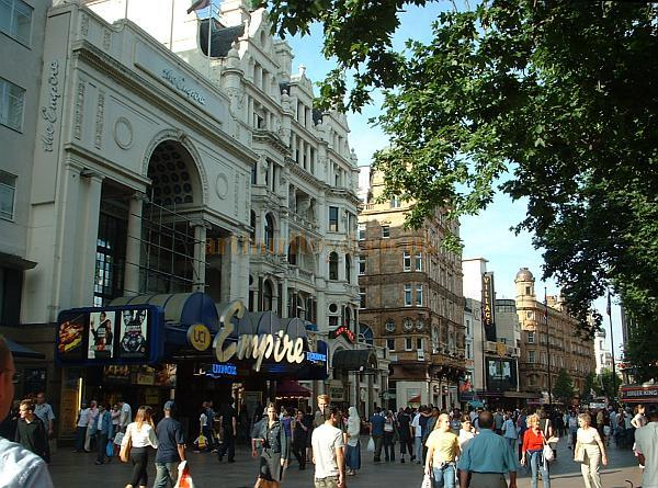 Photograph taken in June 2003 showing the Empire Leicester Square, The Warner Village, and in the distance, the London Hippodrome. - Photo M.L.