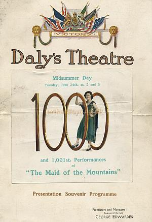 Presentation Souvenir Programme for the 1,000th performance of 'The Maid of the Mountains' at the Dalys Theatre on June the 24th 1919 - Courtesy Laurens Willard.