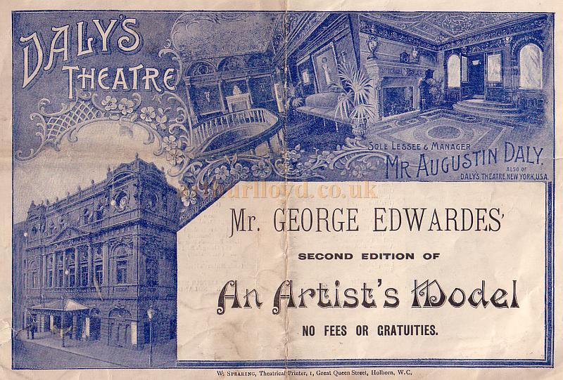 A Programme for the Second Edition of 'An Artist's Model' at Daly's Theatre in September 1895 - Click to see entire Programme.