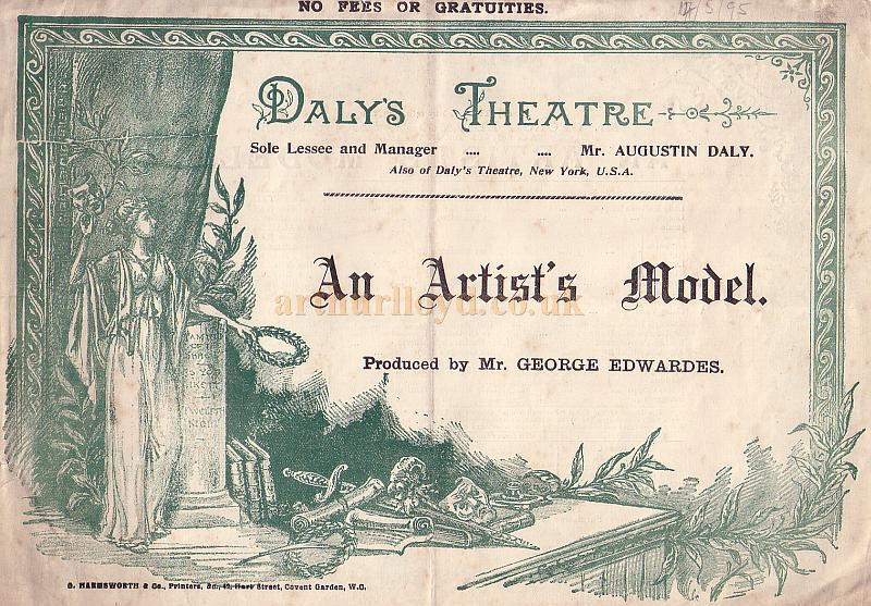 A Programme for 'An Artist's Model' at Daly's Theatre in February 1895 - Click to see the entire Programme.