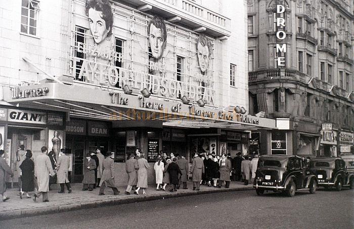 The Warner Cinema during the run of 'Giant' with Elizabeth Taylor, Rock Hudson, and James Dean in a photograph taken on the 3rd of January 1957 - Courtesy Allan Hailstone