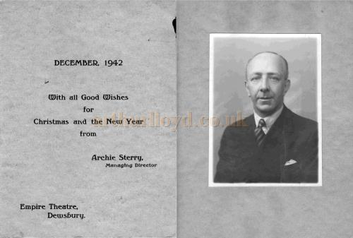 Christmas wishes from Archie Sterry, Managing Director of the Dewsbury Empire in the 1940s - Courtesy his Grandson Richard Sterry.