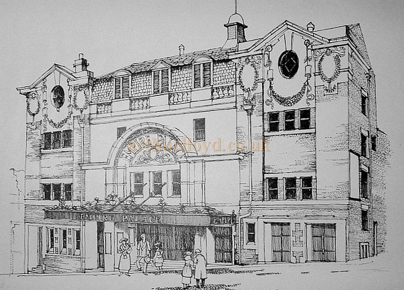 "A Drawing of the Dewsbury Empire by Ivor Westwood, produced for the Dewsbury Arts Group in 1977 in connection with a specially devised show performed by the Group in February 1978 called ""Remember the Empire"" - Courtesy Ivor Westwood and the Dewsbury Arts Group."