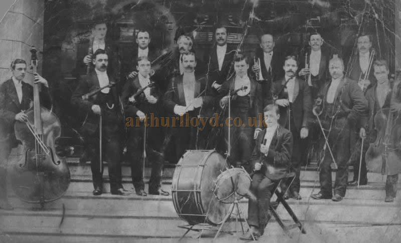The Dewsbury Empire orchestra in 1909, shortly after the Theatre opened - Courtesy Peter Lindup whose grandfather Fred Hinchliffe is the young lad, aged 15, with the drums at front of the photograph.