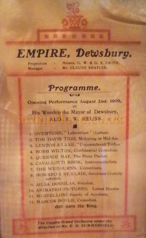 The opening night variety programme for the Dewsbury Empire on the 2nd of August 1909 - Courtesy David Clegg.