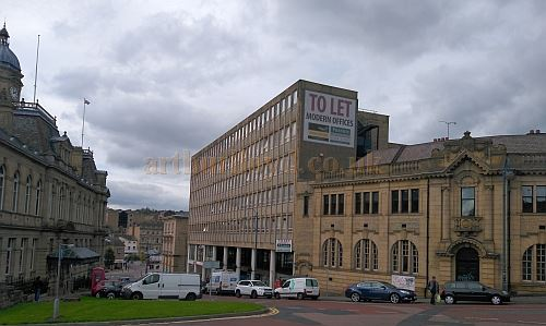 The site of the Dewsbury Empire in October 2017, today an office building called Empire House - Courtesy Philip Paine.