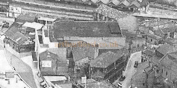 The Dewsbury Playhouse from above in a detail from the postcard shown top of page - Courtesy John West.