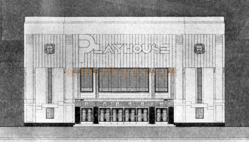 Something new in cinema facades, as far as the industrial North is concerned, distinguishes the Playhouse, Dewsbury, designed for Lou Morris's company by Robert Cromie, F.R.I.B.A.