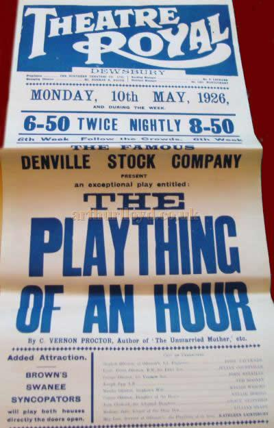 A poster for 'The Plaything of an Hour' at the Theatre Royal, Dewsbury in May 1926 - Courtesy Lynne Colman.