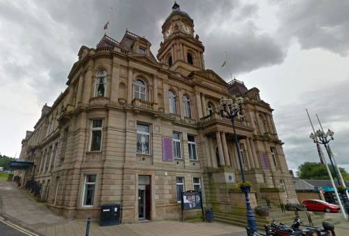 A Google StreetView Image of the Town Hall, Dewsbury today - Click to Interact.