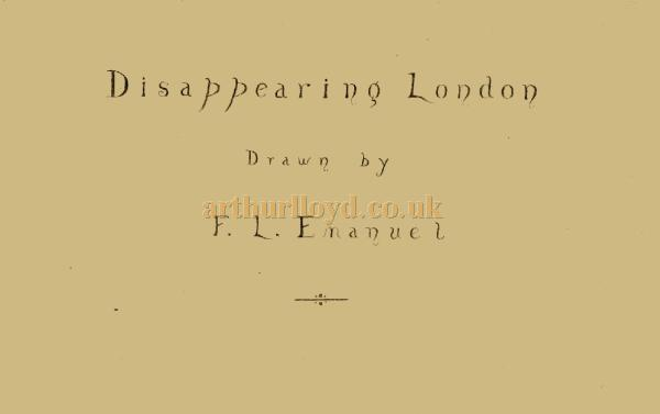 Disappearing London Drawn by F. L. Emanuel