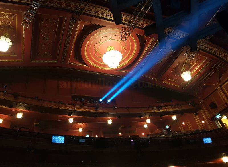 The auditorium of the Dominion Theatre in August 2018. The front of the blocked off Balcony, now used as a Follow Spot Gallery, can be seen above the first circle - Photo M.L.