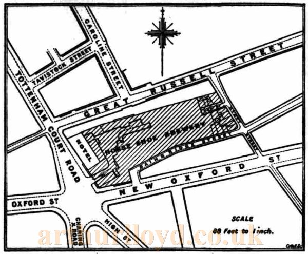A Map showing the site of 'Meux's Horse Shoe Brewery' - From the Daily Telegraph of November 28th, 1905. The site was later used for the building of the Dominion Theatre in 1928.