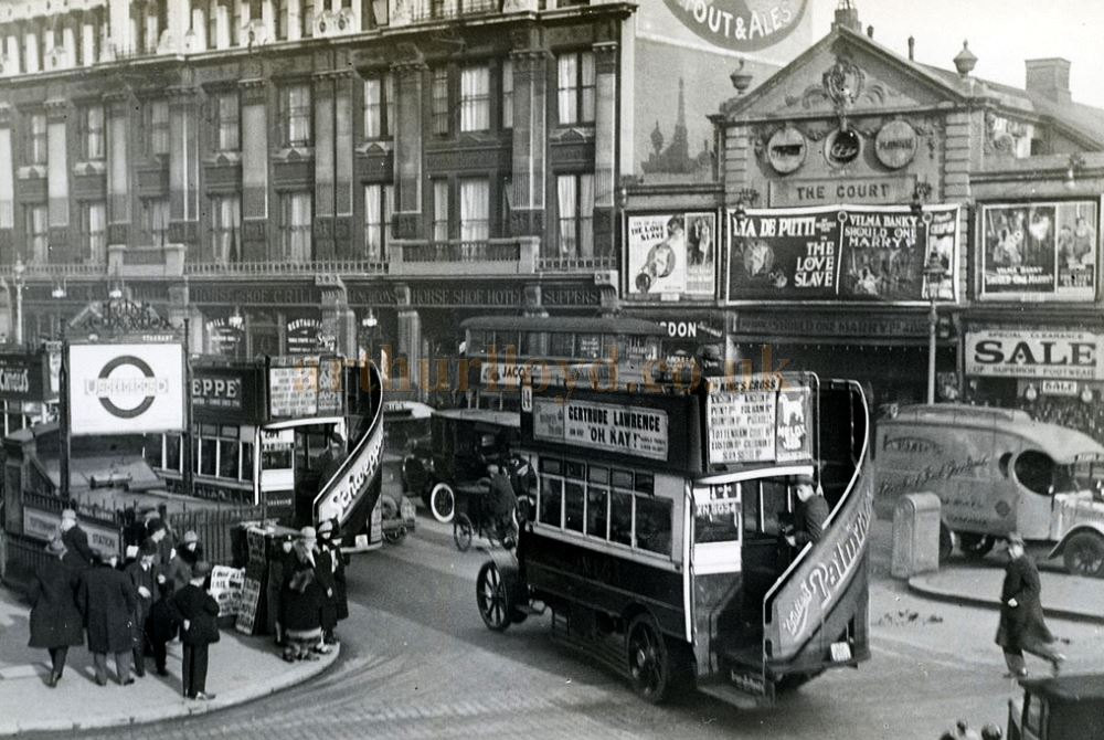 The Court Cinema and Horse Shoe Hotel, Tottenham Court Road, in 1927 - With kind permission Shamus Dark. The Court Cinema stood on the site of the Present Day Entrance to the Dominion Theatre and the photograph is from the Stockholm Transport Museum archive and forms part of a wonderful set of photos on Flickr entitled 'Charing Cross Road before Centre Point'.