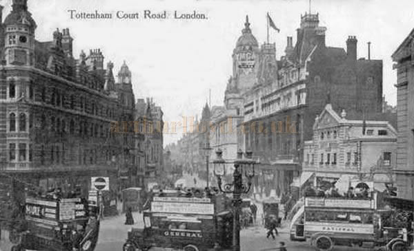 An early postcard showing Tottenham Court Road and the Court Cinema, formerly on the site of the entrance to the Dominion Theatre.
