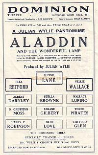 Advertisment for the forthcoming 'Aladdin' at the Dominion Theatre in 1930.