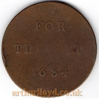 An Entrance Token for the Pit of the second Theatre Royal, Drury Lane dated 1684 , 10 years after the Theatre had been built - Courtesy Alan Judd.