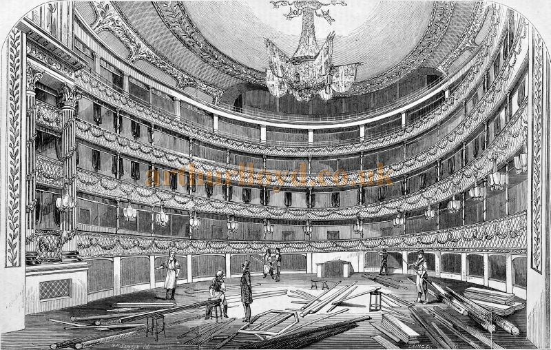 The Interior of the Theatre Royal, Drury Lane during its 1847 Redecoration - From 'The Builder', September 25th 1847.