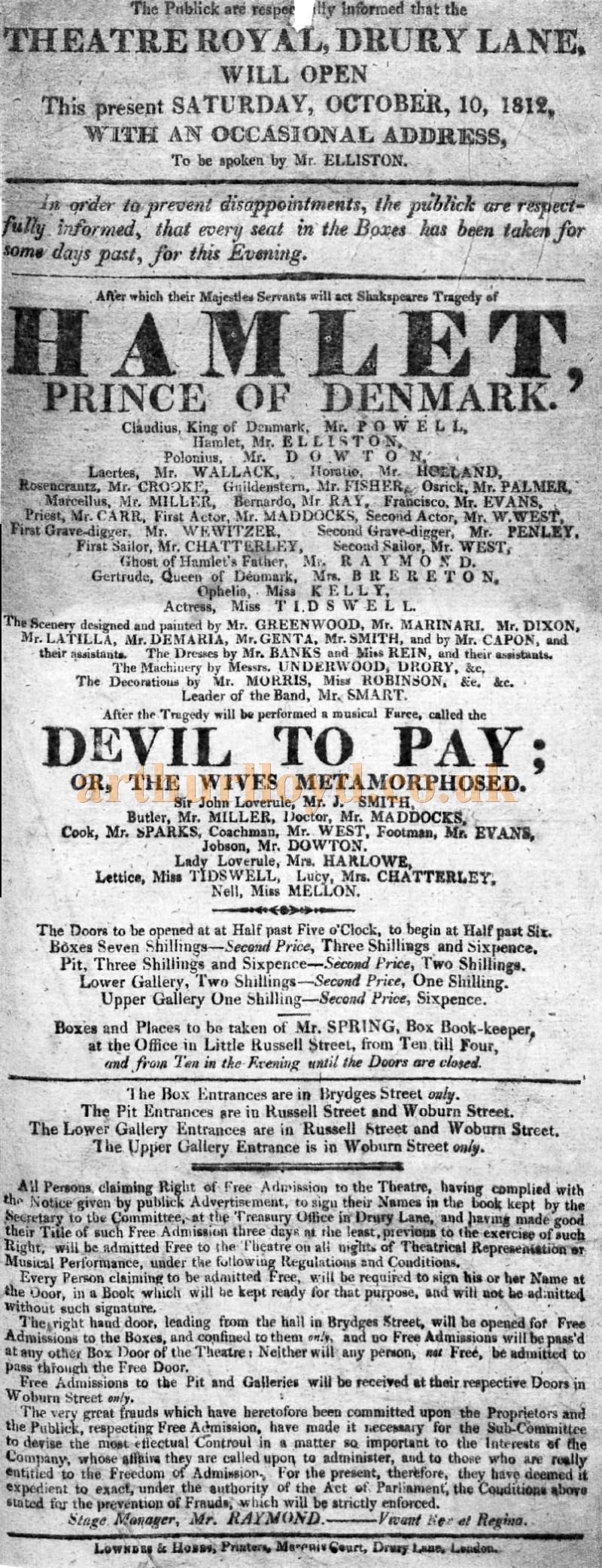 A Bill for the opening of the fourth and present Theatre Royal, Drury Lane on October the 10th 1812