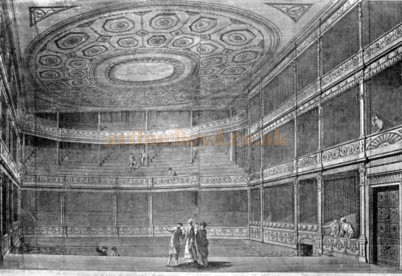 The Auditorium of the Theatre Royal, Drury Lane in 1775 - From the book 'Shakspere to Sheridan' by Alwin Thaler, published in 1922.