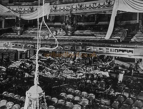 The Stalls and Circle of the Theatre Royal, Drury Lane, the morning after the bomb hit the Theatre during the scond world war. From the book 'Pillars of Drury Lane' by W. Macqueen Pope 1955 - Courtesy Piers Caunter.