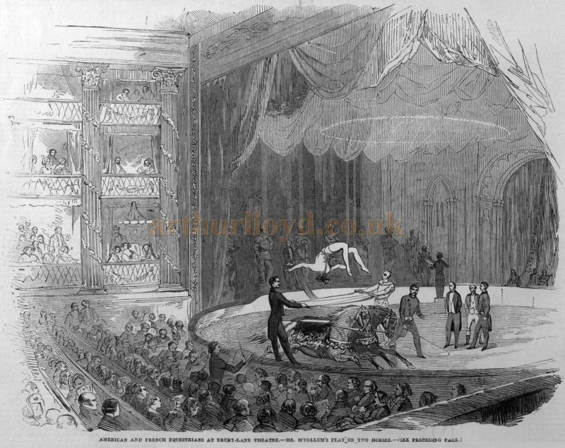 American and French Equestrians at Drury Lane Theatre - Mr M'Collum's Feat on two Horses - From the Illustrated London News, 9th of August 1851.