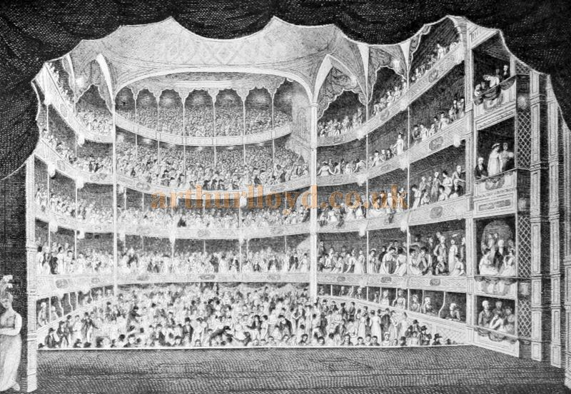 The Auditorium of the Theatre Royal, Drury Lane in 1804 - From 'London Past and Present' Vol 2 by W. W. Hutchings 1909.