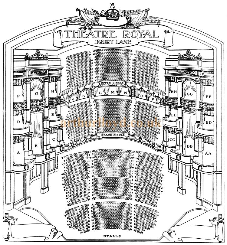 A Wonderfully Drawn Mid 1920s Seating Plan for the Theatre Royal, Drury Lane