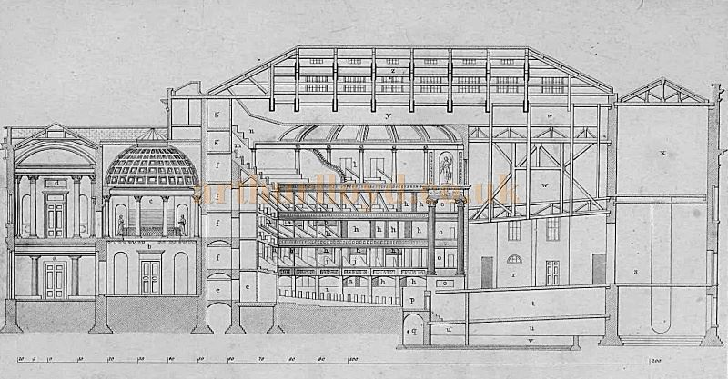 A longitudinal plan of the Fourth Theatre Royal Drury Lane by B. Wyatt (Architect) - From 'Illustrations of the public buildings of London, Volume 1' by J. Britton and A. Pugin, 1825 - Courtesy Alfred Mason.
