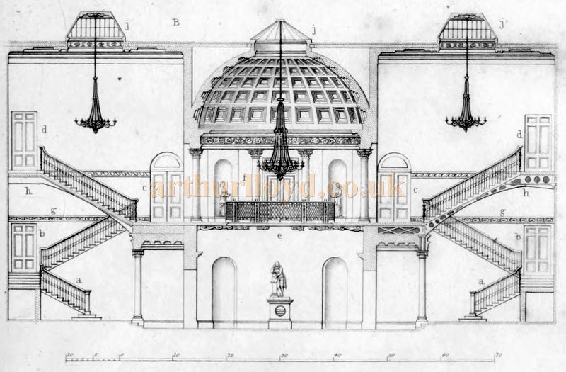 Section through the Grand Staircases and Rotunda of the Fourth Theatre Royal Drury Lane by B. Wyatt (Architect) - From 'Illustrations of the public buildings of London, Volume 1' by J. Britton and A. Pugin, 1825.