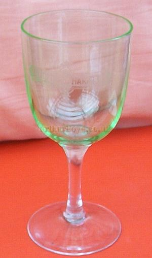 A drinking glass with the words 'Augustus Harris' engraved on the bowl - Courtesy Ruth Allison.