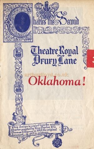 A Programme Cover for 'Oklahoma!' which opened at the Theatre Royal, Drury Lane in 1947 - Kindly Donated by Judy Jones.