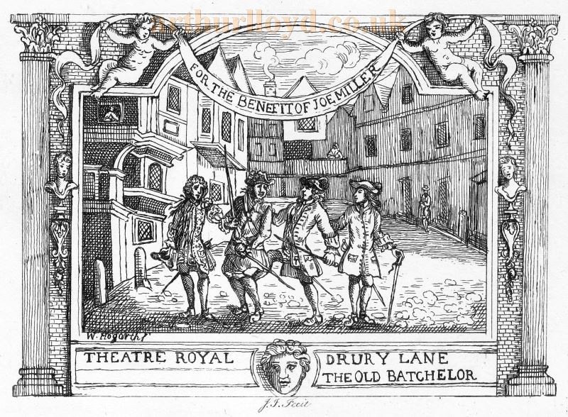A Ticket for William Congreve's 'The Old Bachelor' at the second Theatre Royal, Drury Lane on the 13th of April 1738 -  From Graphic Illustrations of Hogarth, 1794.