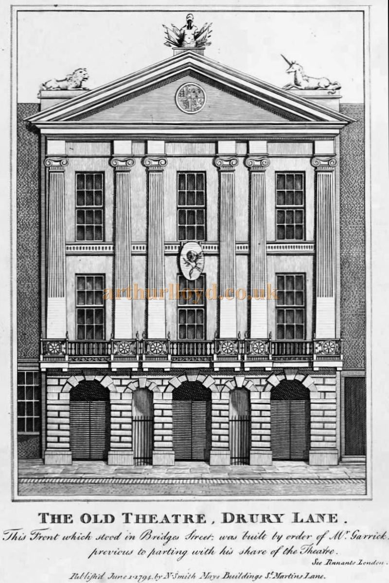 The Old Theatre, Drury Lane - From 'Antiquities of London and its Environs' by John Thomas Smith 1791.