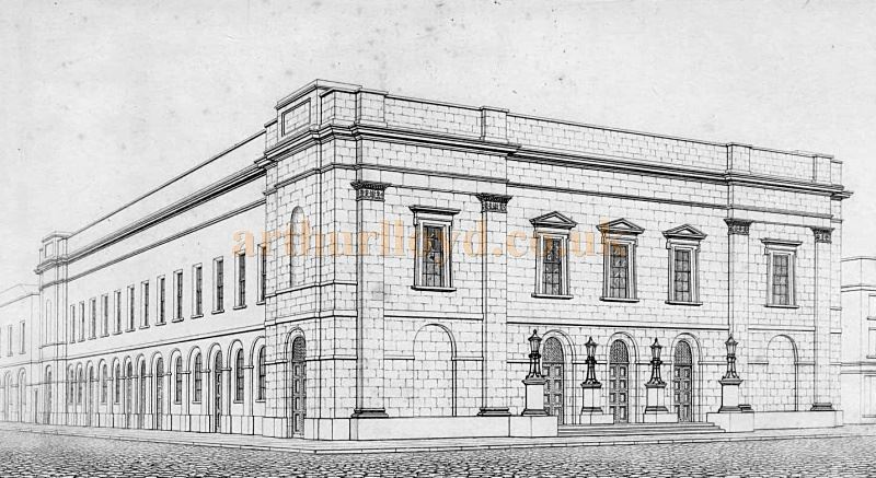 A sketch by B. Wyatt (Architect) of the original exterior of the Fourth Theatre Royal Drury Lane before the present Portico and the Russell Street colonnade were added in 1820 and 1831 respectively  - From 'Illustrations of the public buildings of London, Volume 1' by J. Britton and A. Pugin, 1825 - Courtesy Alfred Mason.