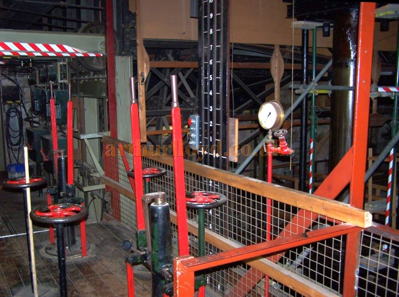 The ancient substage machinery which used hydraulics to lift and lower the stage in various ways, Grade I listed. Click to see more substage photos taken in 2006, and also many photos taken in 2008 of the Lifts in action again after many decades lying silent.