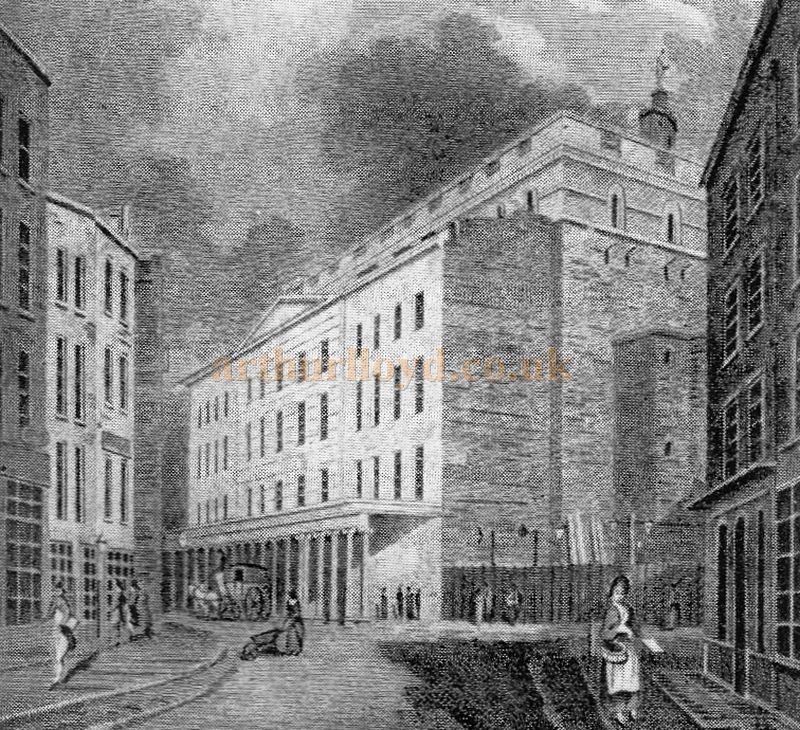 A Sketch showing the Russell Street Elevation of the Third Theatre Royal Drury Lane in 1805 - From 'The Face Of London' by Harold P. Clunn 1956