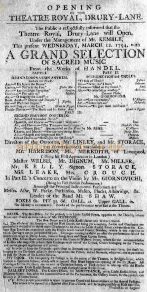 A Bill for a 'Grand Selection of Sacred Music' from the works of Handel which opened the third Theatre Royal, Drury Lane on Wednesday the 12th of March 1794.