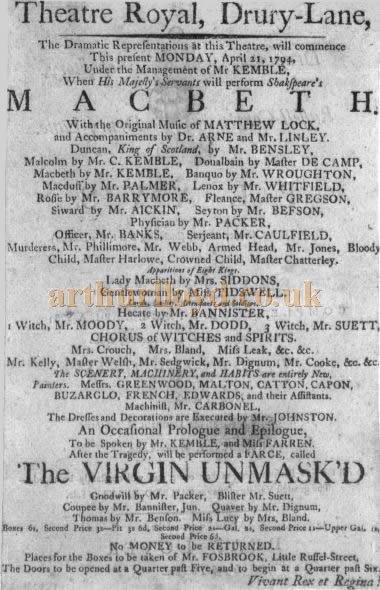 A Bill for the Shakespeare play 'Macbeth' which opened the third Theatre Royal, Drury Lane for business on Monday the 21st of April 1794.