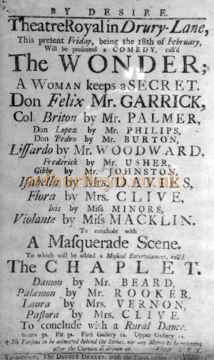 A Bill for 'The Wonder - A Woman Keeps a Secret' at the Theatre Royal, Drury Lane on a Friday February the 18th 1775 - Courtesy Shelley Evans.