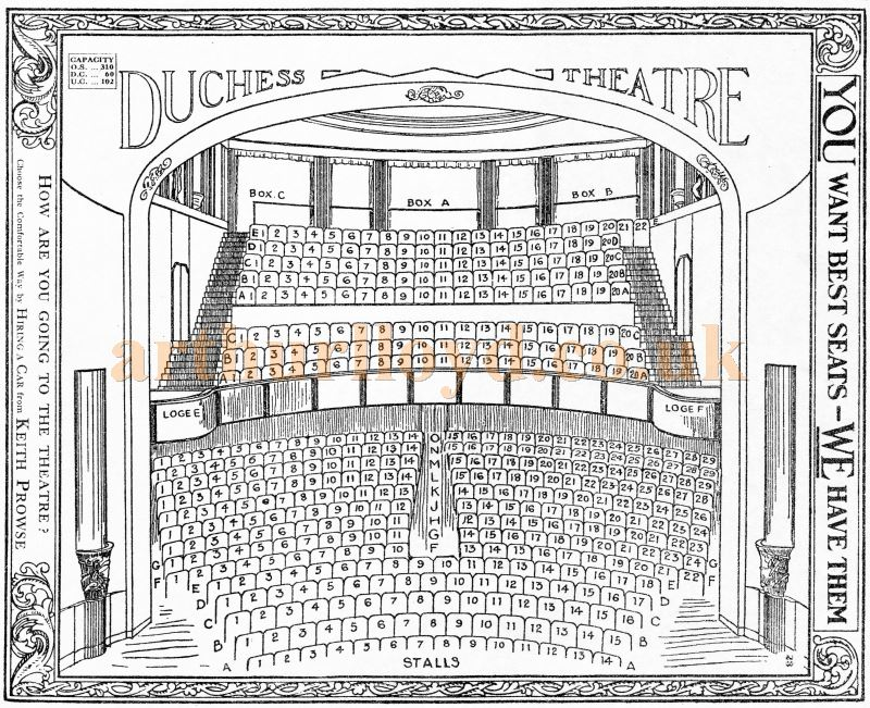 A 1920s Seating Plan for the Duchess Theatre