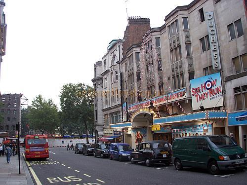 The Duchess Theatre during the run of 'See How They Run'. This photo also shows the site of the former Gaiety Theatre, Aldwych at far centre, being prepared for the construction of an Hotel in October 2006 - Photo M.L.