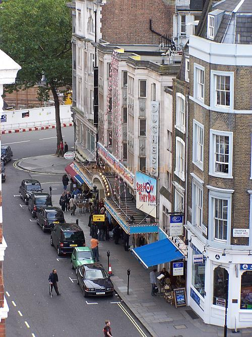 A photograph of the Duchess Theatre taken from the roof of the Theatre Royal Drury Lane, during the run of 'See How They Run' in October 2006 - Photo M.L.