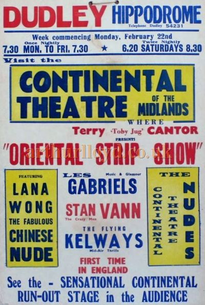 A Poster for the Dudley Hippodrome in the 1950s - Courtesy Kenny Cantor and the late Maurice Poole.