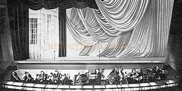 An early photograph of the auditorium, stage, and orchestra of the Dudley Hippodrome - Courtesy the RF Collection.