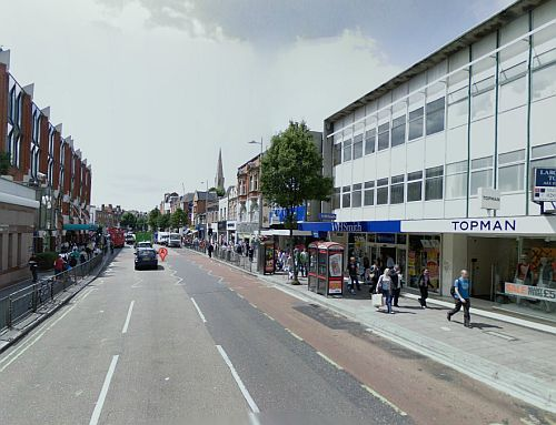 A Google StreetView Image of the site of the Ealing Theatre today - Click to Interact.