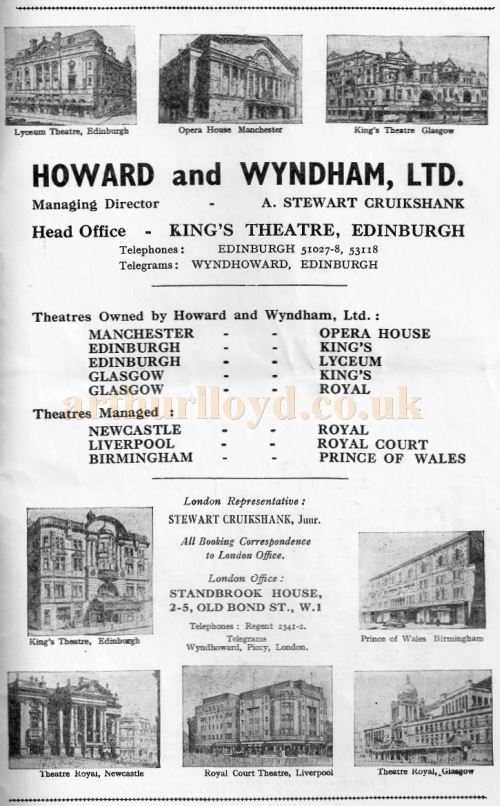 An Advertisement of Howard and Wyndham Limited whose head office was at the King's Theatre, Edinburgh - Courtesy Michael Jaffé.