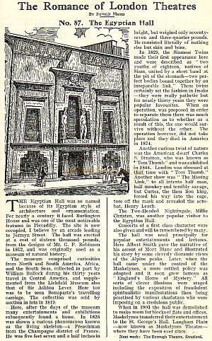 The Romance of London Theatres by Ronald Mayes on The Egyptian Hall - From a programme for the Lewisham Hippodrome, March 1930.