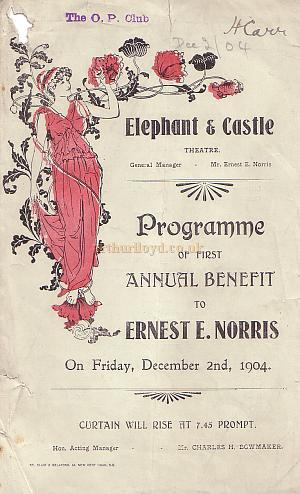 A Programme for an annual Benefit for the Elephant and Castle Theatre manager, Ernest E Norris.